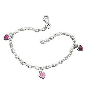 Armband, Herz rosa-pink, Silber 925 16cm