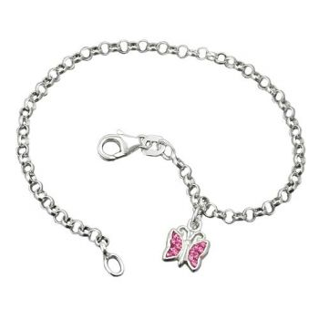 Armband, Schmetterling pink, Silber 925 16cm