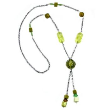 Collier, Facettenperle oliv, Ankerkette 90cm