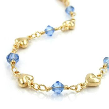 Collier, Fantasie, Glasperlen blau, AMD 45cm