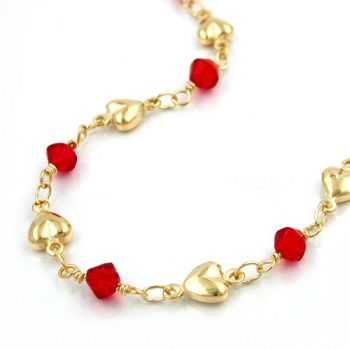 Collier, Fantasie, Glasperlen rot, AMD 42cm