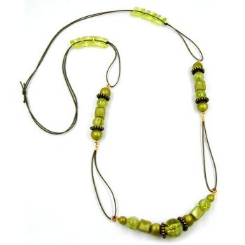 Collier, oliv-seide, oliv-transparent 100cm
