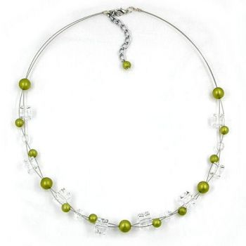 Collier, oliv-seidig, transparent 45cm