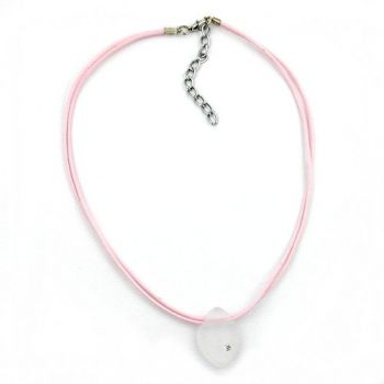 Collier, rosa kristall-transparent matt 38cm
