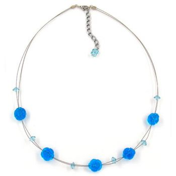 Collier, Rosette aqua-transparent 48cm
