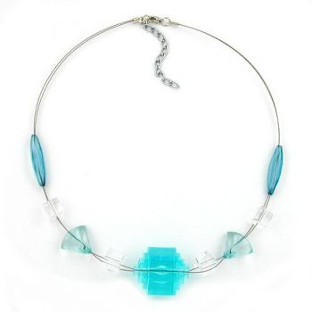 Collier, Stufenperle aqua-transparent 45cm