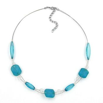 Collier, türkis-aqua-transparent 45cm