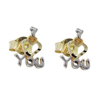 Stecker, I LOVE YOU bicolor, 9Kt GOLD