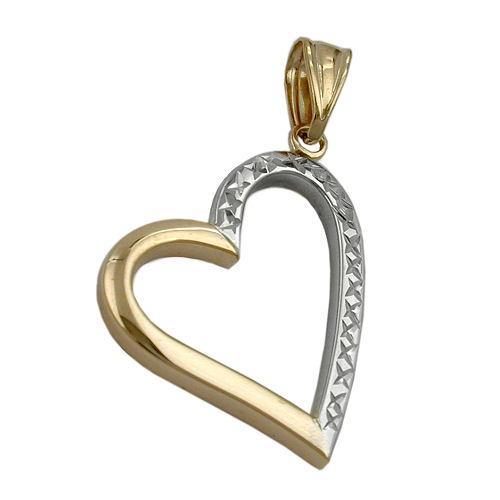 schmuck juweliere anh nger herz offen bicolor 9kt gold. Black Bedroom Furniture Sets. Home Design Ideas