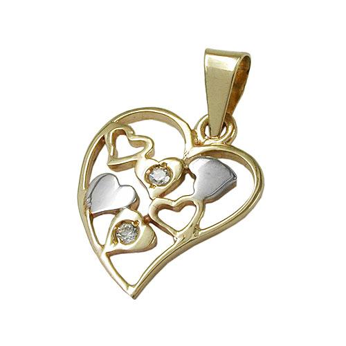 schmuck juweliere anh nger herz bicolor zirkonia 9kt gold. Black Bedroom Furniture Sets. Home Design Ideas