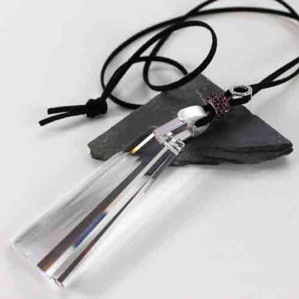 Kette/Anhänger, Schwinge Bleikristall an Band schwarz