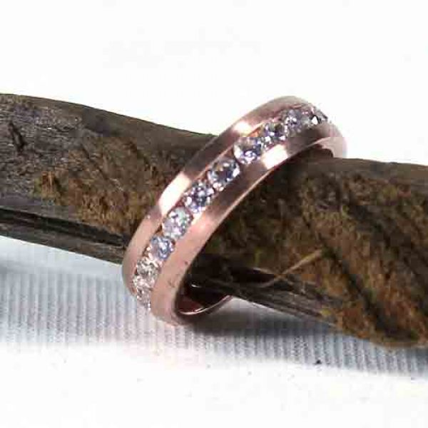 Ring mit Zirkonia, rosevergoldet, 925 Gr.54