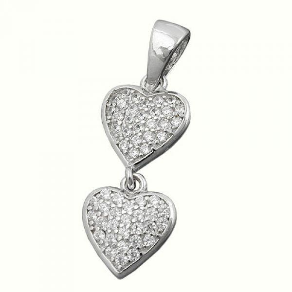 Anhänger, 2 Herzen, Zirkonia, Silber 925