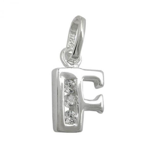 Anhänger, Buchstabe F mit CZ Silber 925