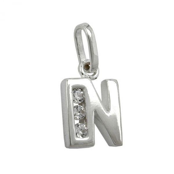 Anhänger, Buchstabe N mit CZ Silber 925