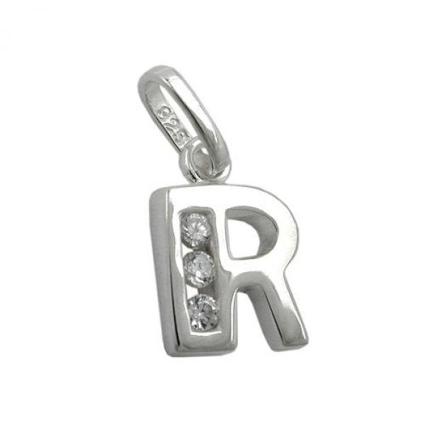 Anhänger, Buchstabe R mit CZ Silber 925