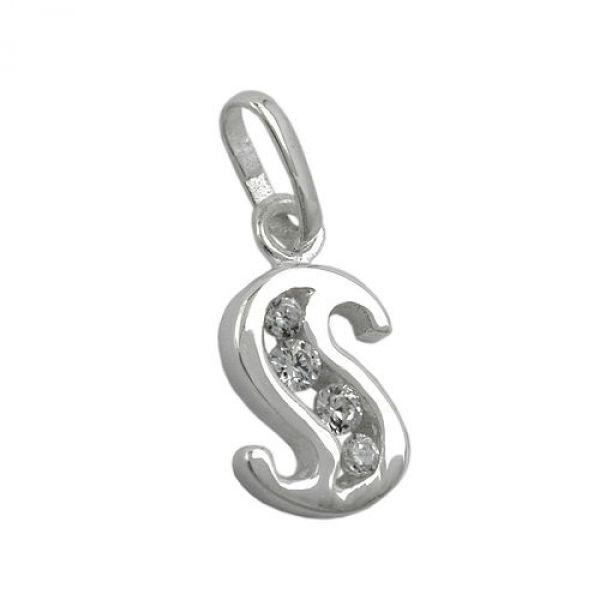 Anhänger, Buchstabe S mit CZ Silber 925