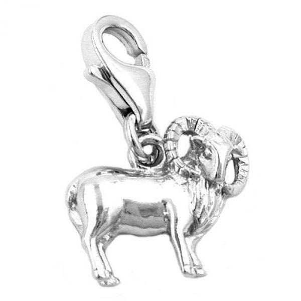 Anhänger, Charm Widder, Silber 925