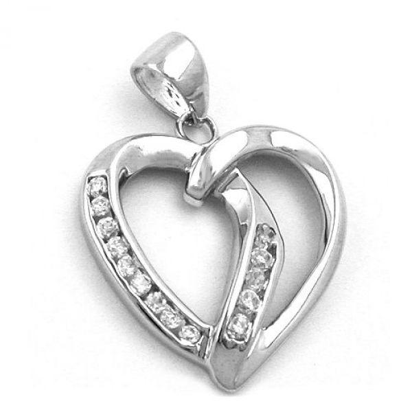 Anhänger, Herz, 14 Zirkonias, Silber 925