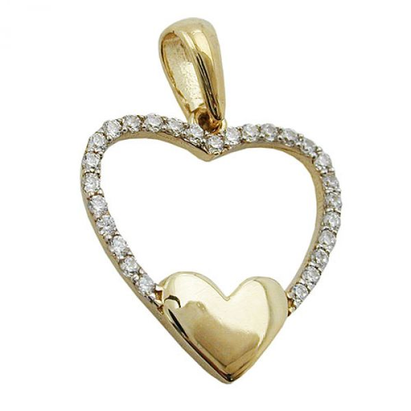 Anhänger, Herz, Zirkonia, 9Kt GOLD