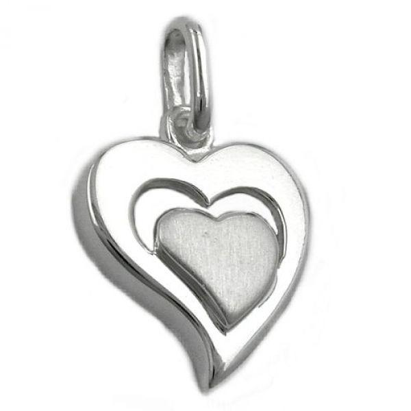 Anhänger, Herz im Herz, Silber 925