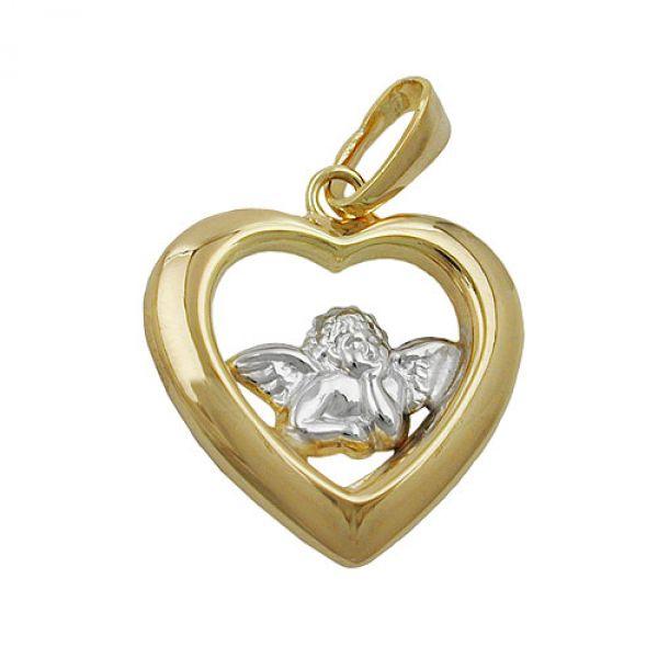 schmuck juweliere anh nger herz mit engel 9kt gold. Black Bedroom Furniture Sets. Home Design Ideas
