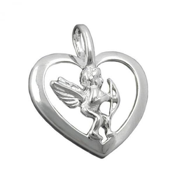 Anhänger, Herz mit Engel, Silber 925