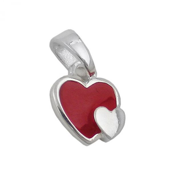 Anhänger, Herzen rot-silber, Silber 925