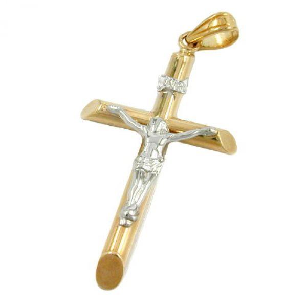 Anhänger, Jesuskreuz bicolor, 9Kt GOLD