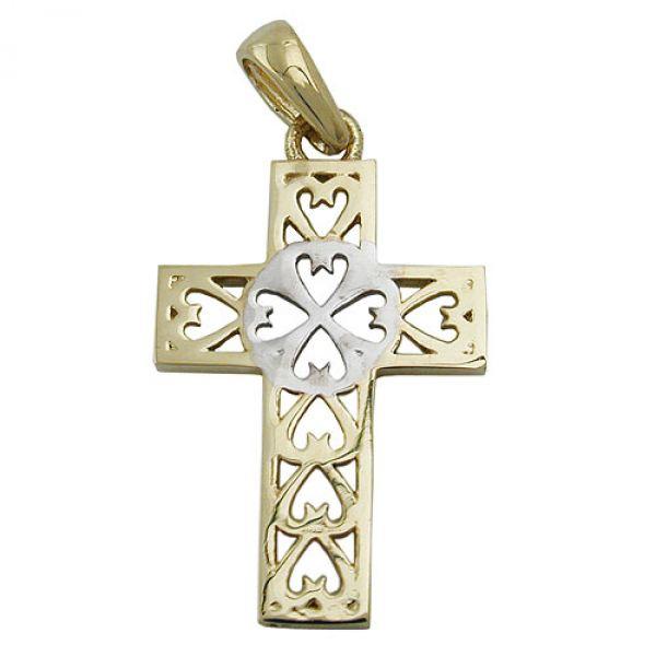 Anhänger, Kreuz, bicolor, 9Kt GOLD