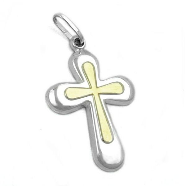 Anhänger, Kreuz, bicolor, Silber 925