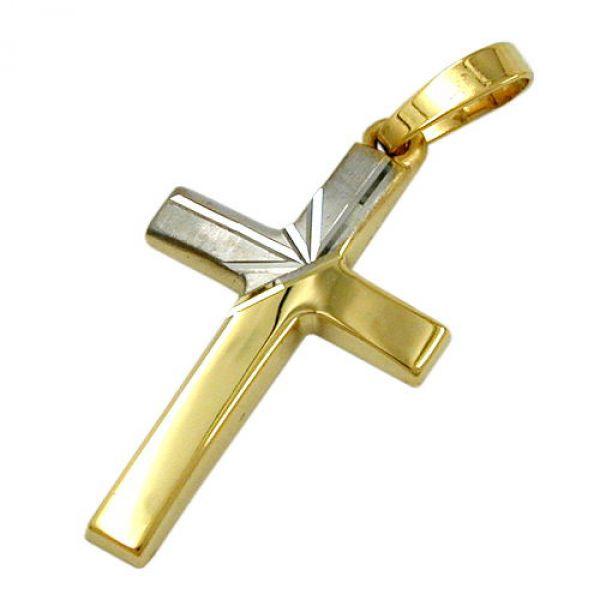 Anhänger, Kreuz bicolor, 14Kt GOLD