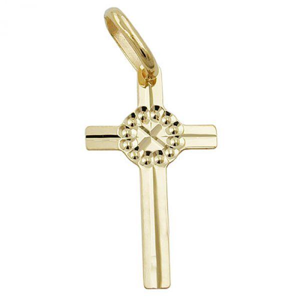 schmuck juweliere anh nger kreuz gl nzend 9kt gold. Black Bedroom Furniture Sets. Home Design Ideas