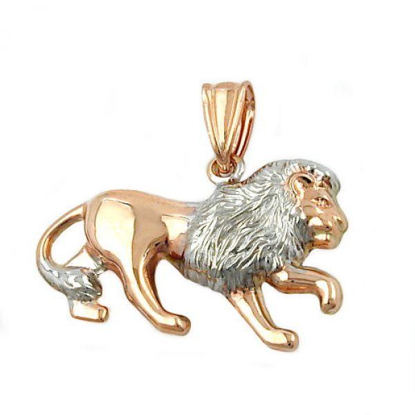 Anhänger, Löwe bicolor, 9Kt Rotgold