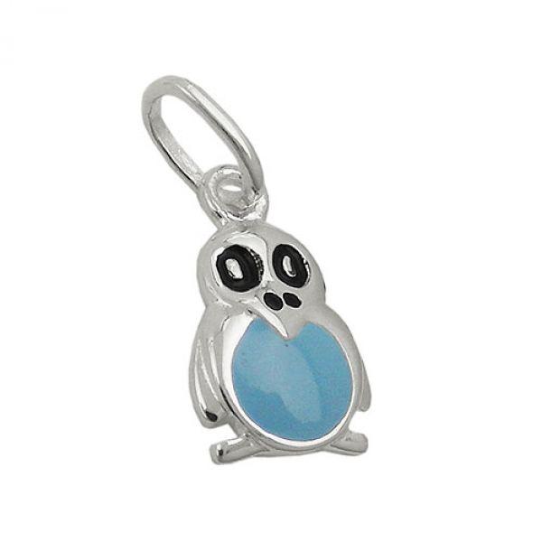 Anhänger, Pinguin blau, Silber 925