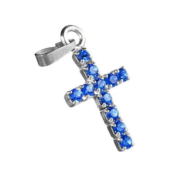 Anhänger, Strass-Kreuz, safir, 925