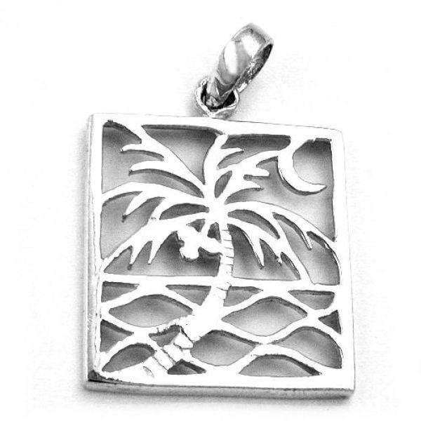Anhänger, Viereck mit Palme, Silber 925