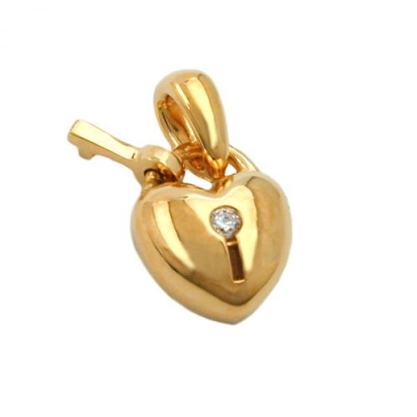 schmuck juweliere anh nger herz schloss vergoldet 3 micron g nstig kaufen bei schmuck. Black Bedroom Furniture Sets. Home Design Ideas
