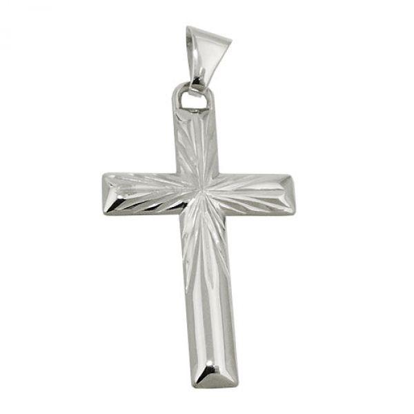Anhänger, Kreuz diamantiert, Silber 925