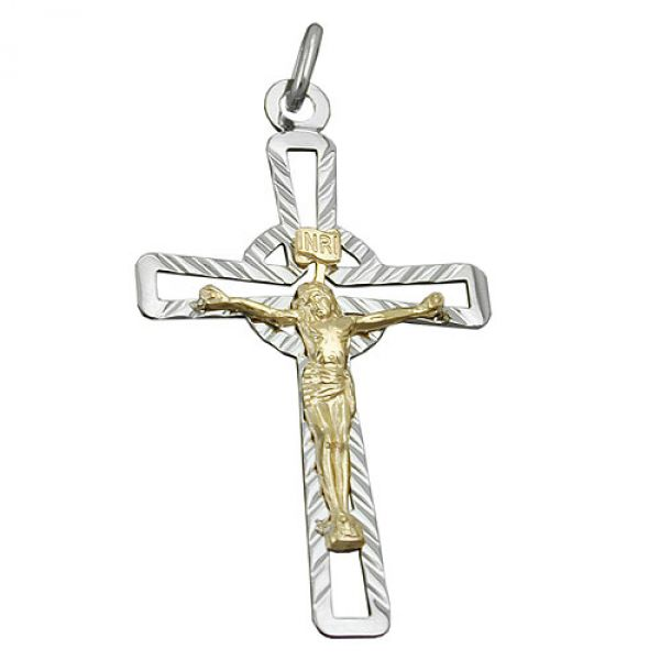 Anhänger Kreuz Jesus bicolor, Silber 925