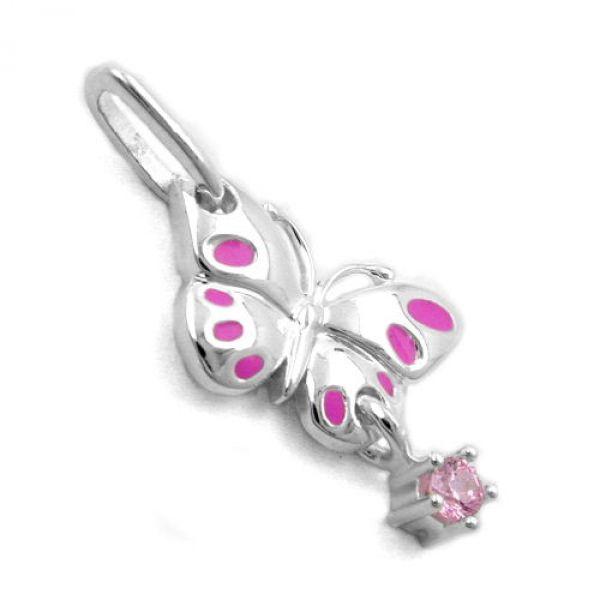 Anhänger Schmetterling pink, Silber 925