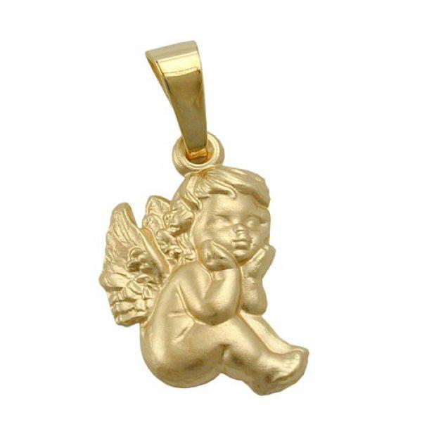 Anhänger sitzender Engel matt 9Kt GOLD
