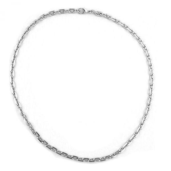 Ankerkette, 6mm rhodiniert diamantiert 50cm