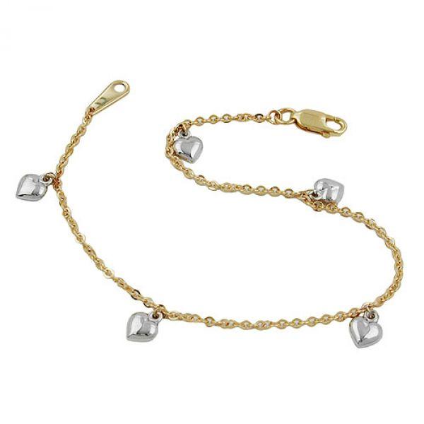 Armband, Ankerkette mit Herzen, 9Kt GOLD 18,5cm