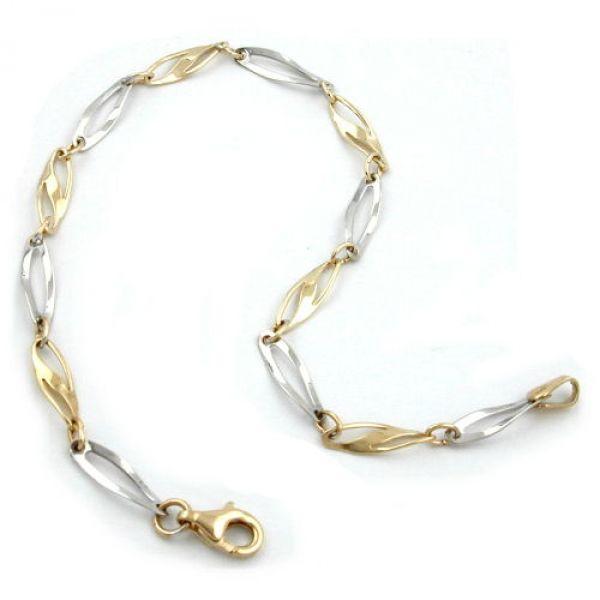 Armband, Fantasie bicolor, 9Kt GOLD 19cm