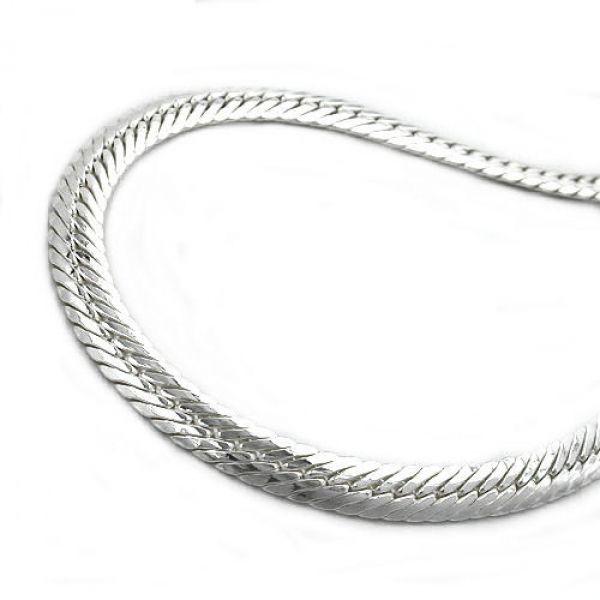 Armband, Panzer flach oval, Silber 925 21cm