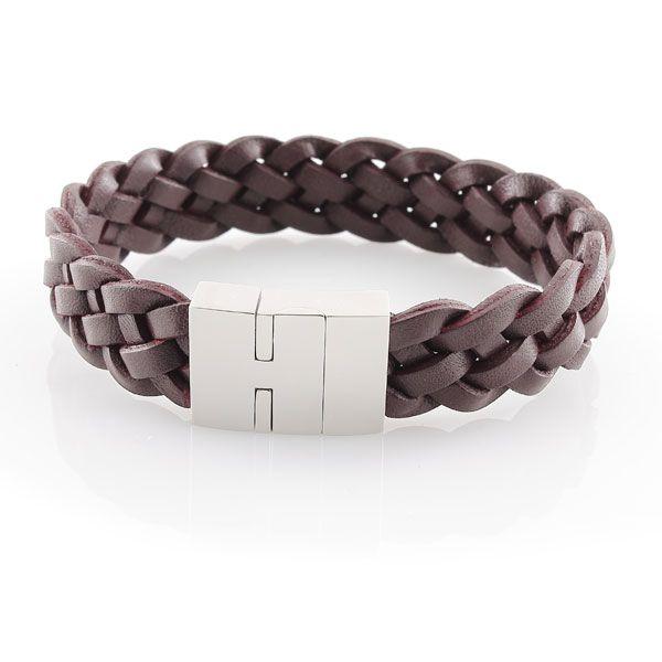 Armband Echt Leder braun 23cm - Edelstahl