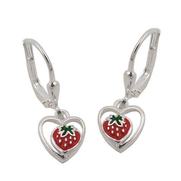 Brisur, Erdbeere im Herz, Silber 925