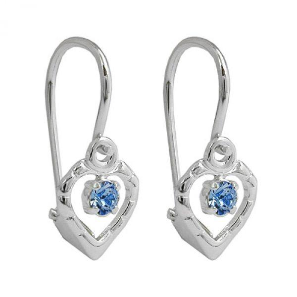 Brisur, Glasstein hellblau, Silber 925