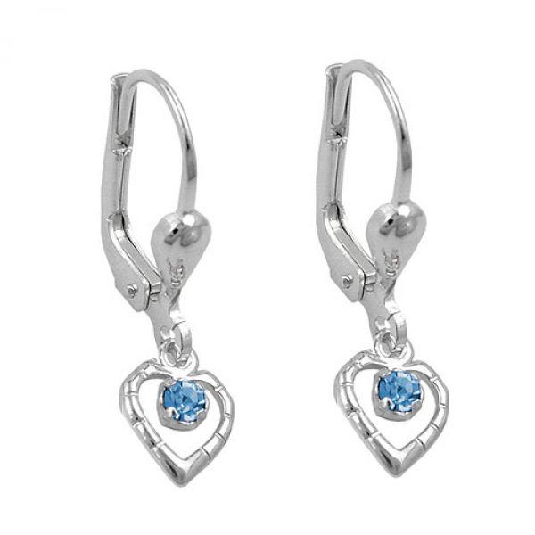 Brisur, Herz Glasstein blau, Silber 925
